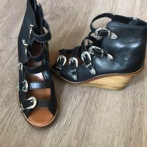 Topshop wooden wedge sandal